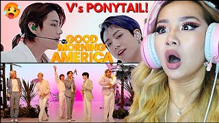 TAE TAE'S PONYTAIL?! 😲 BTS 'BUTTER & DYNAMITE (Tropical Remix) ' GOOD MORNING AMERICA   REACTION