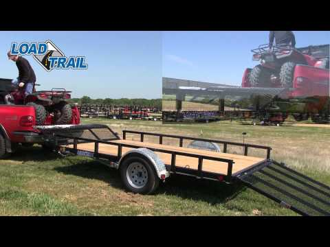 Loading ATV's on a Load Trail Single Axle Trailer with Front Ramp Gate and Rear Fold Gate