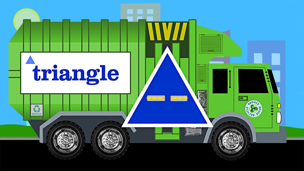 learn shapes garbage truck learning garbage trucks for kids youtube. Black Bedroom Furniture Sets. Home Design Ideas