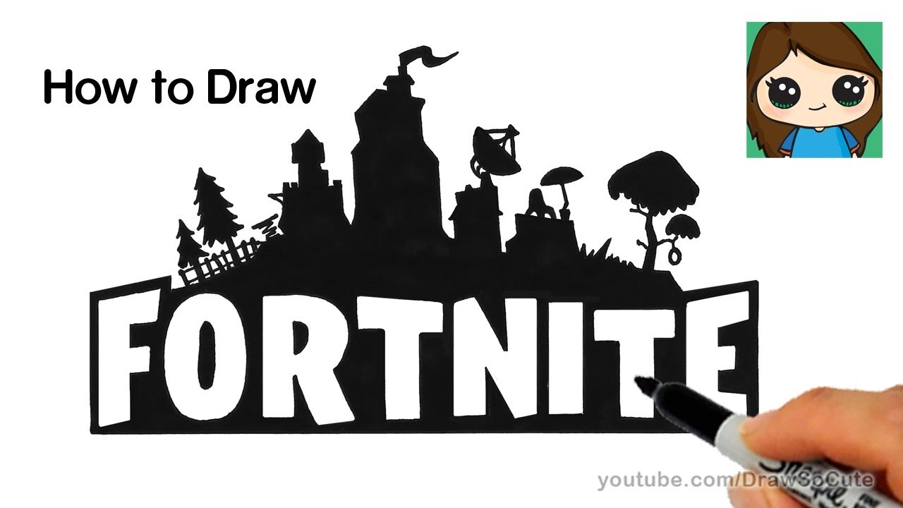 How To Draw Fortnite Logo Easy Youtube