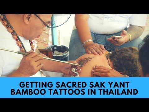 Getting Sak Yant Sacred Bamboo Tattoos in Ayutthaya, Thailand