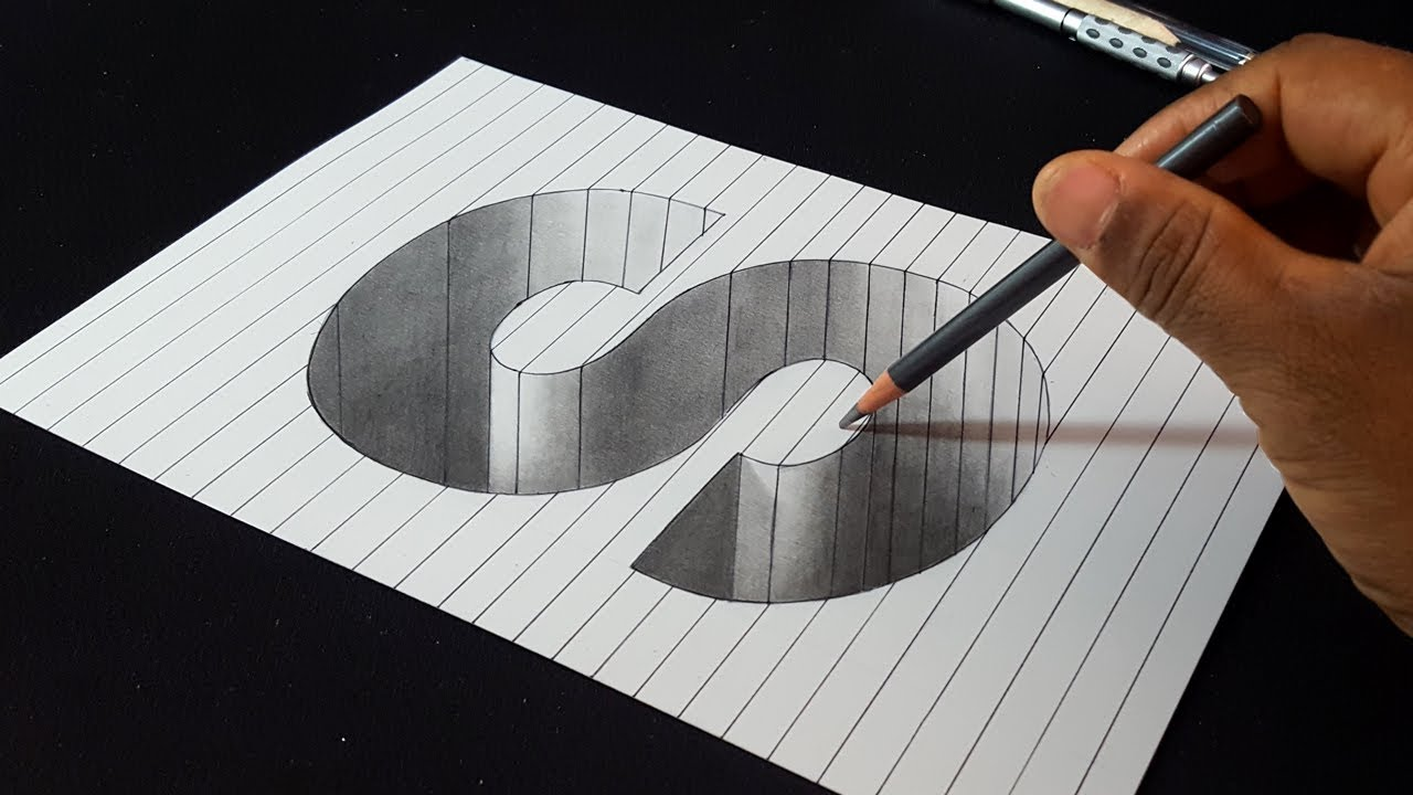 How to Draw 3D Letter S Hole Shape - Easy 3D Drawings - YouTube