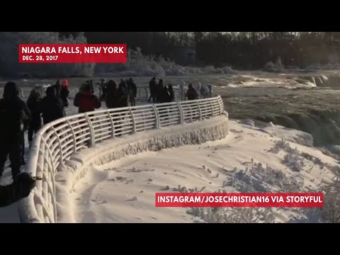 Video shows Niagara Falls covered in frost after record-breaking cold snap