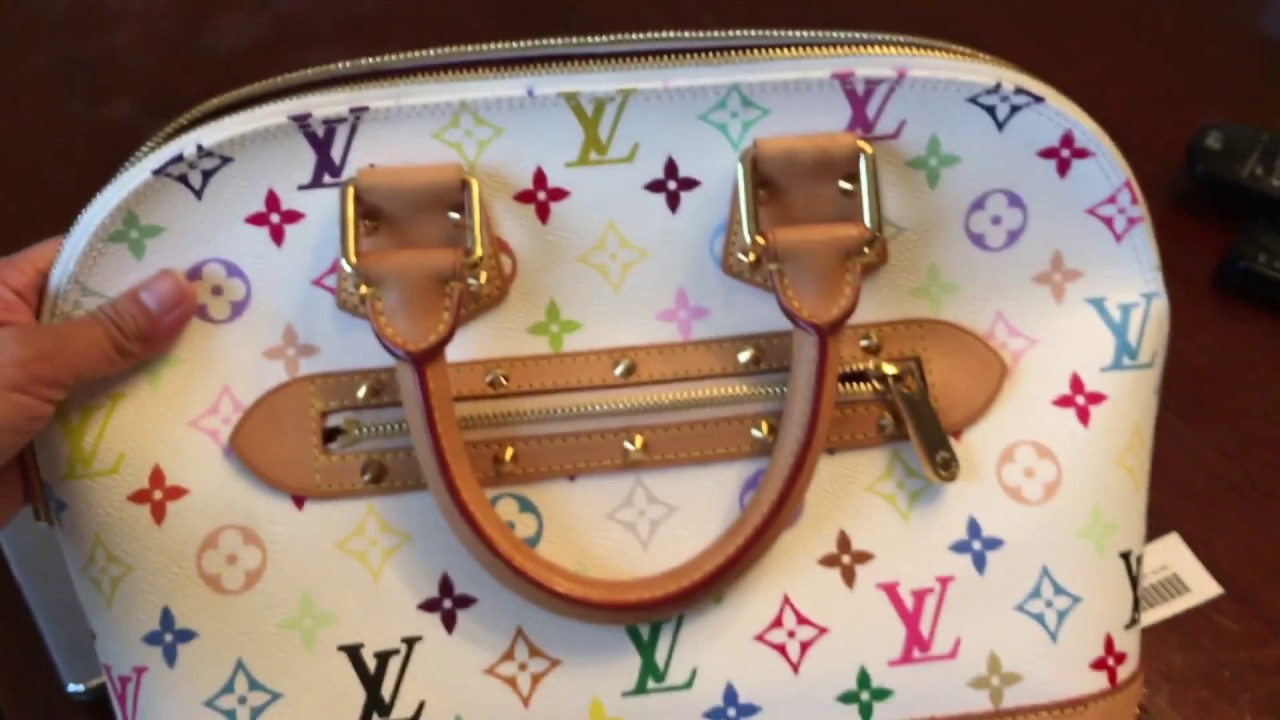 How To Spot Authentic White Multicolor Louis Vuitton Alma Bag and Where to  Find the Date Code 2bb5abe4322