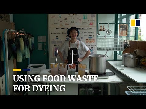 Using food waste for dyeing in a DIY workshop in Central, Hong Kong