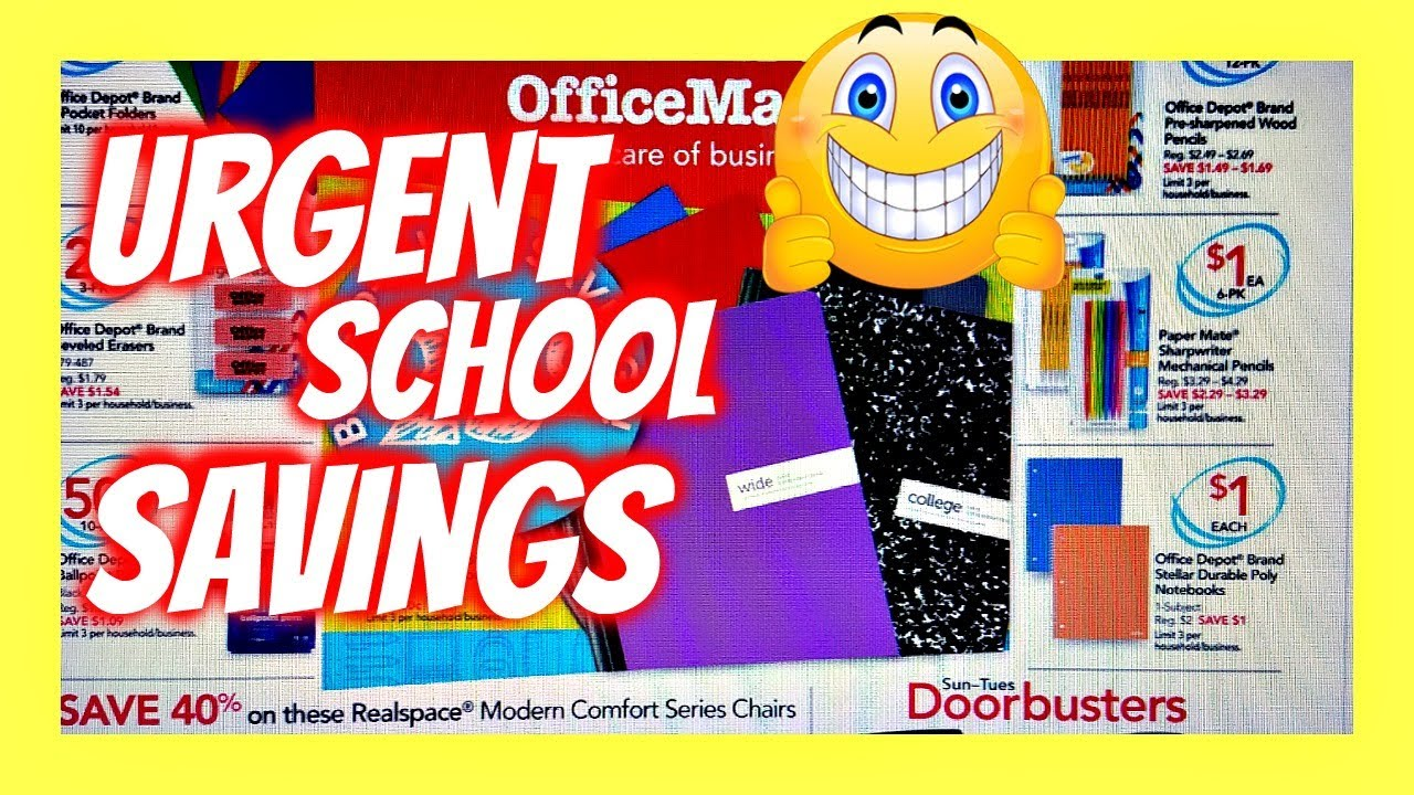 Back To SCHOOL Haul ONE CENT ONLY ! Officemax Office Depot savings weekly  flyer 2017