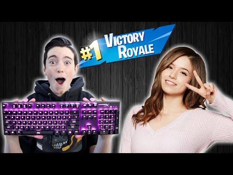I WON WITH POKIMANE'S KEYBOARD!! - Fortnite Battle Royale