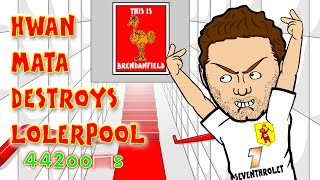 Steven Gerrard Red Card/Stamp BY JUAN MATA🐓Liverpool vs Man Utd👹 1-2 22.3.15 Mata Song Cartoon