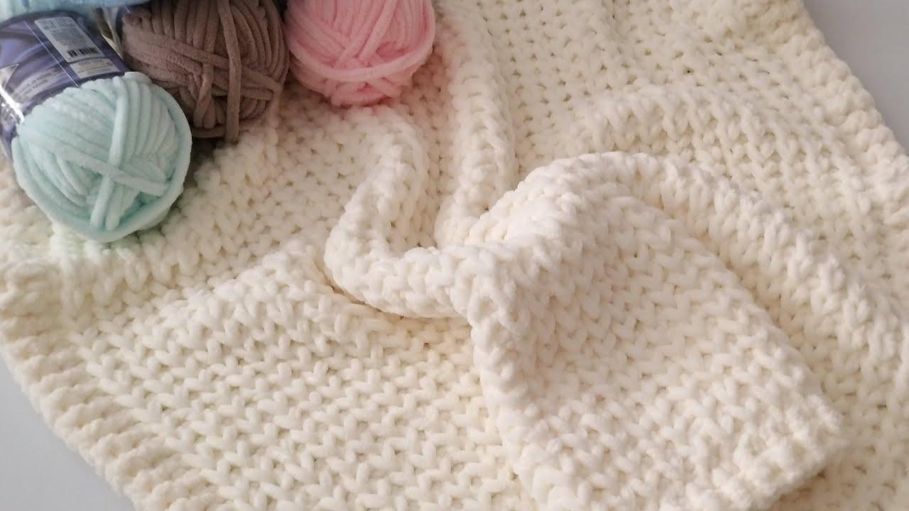 Zırh Modeli Bebe Battaniye / Alize Velluto ile Şiş Örgü / Baby Blanket