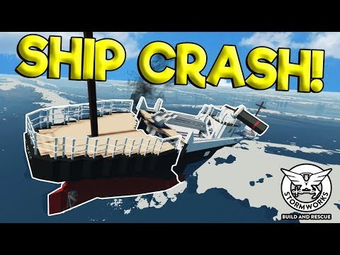 MASSIVE WAVE SPLITS & SINKS SHIP! - Stormworks: Build and Rescue Gameplay - Sinking Ship Survival