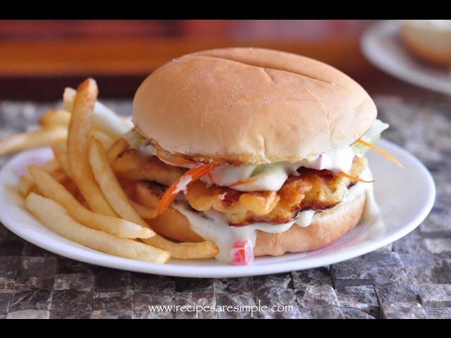 Fish Burger with Special Tartar Sauce   RecipesAreSimple
