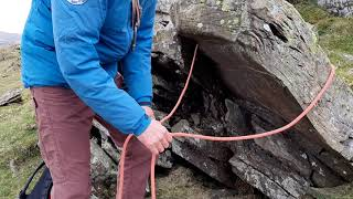 Ropework for scrambling 1: belaying off a direct anchor using a rope and a sling
