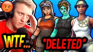 TFUE REACTS TO EPIC *DELETING* ALL OF HIS *RARE* SKINS! (RIP RENEGADE RAIDER!) Fortnite SAD Moments