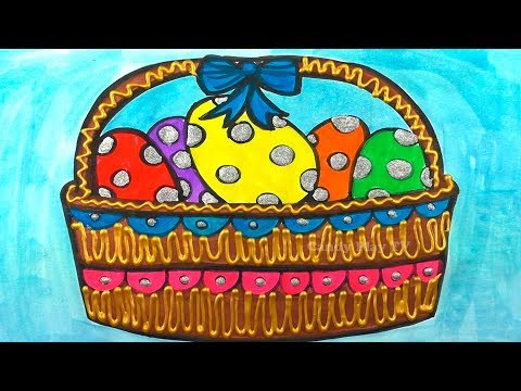 how-to-draw-easter-basket-with-colored-eggs-|-learn-colors-with-watercolor-paint-|-fun-coloring