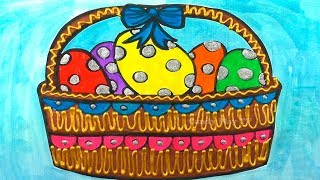 How to Draw Easter Basket with Colored Eggs | Learn Colors with Watercolor Paint | Fun Coloring