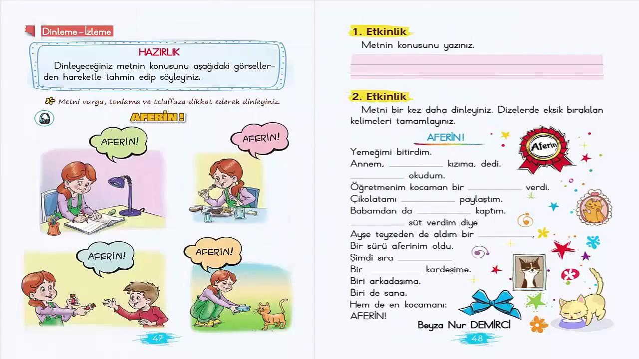 Aferin Dinleme Izleme Metni Etkinlikleri 2 Sınıf Türkçe Ders Kitabı