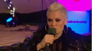 Jessie J backstage at Radio 2 Live in Hyde Park 2013