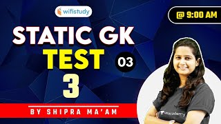 9:00 AM - Static GK Test | SSC and Railway Exams | GK by Shipra Chauhan | Test-3