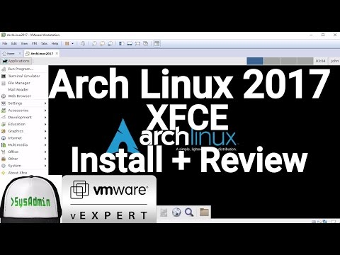 Arch Linux 2017 Installation + XFCE Desktop + Apps + VMware Tools on VMware Workstation [2017]