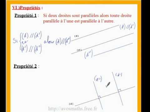 6eme cours de maths sur les propriétés sur les droites ...