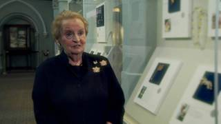 Madeleine Albright talks about her pins on exhibit at the Smithsonian Institution