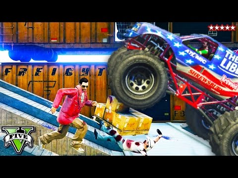 GTA 5 TOTAL CHAOS   Monster Truck Pit of DEATH & Perfect Loop Race w/The Crew! (GTA 5 Funny Moments)