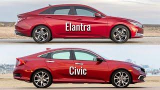 2021 Hyundai Elantra vs Honda Civic Sedan