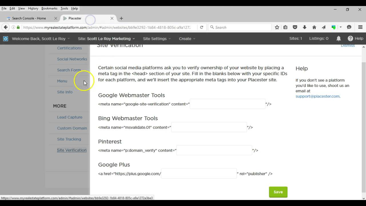 placester tip setting up google webmaster tools placester tip setting up google webmaster tools