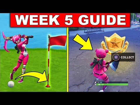 Fortnite WEEK 5 CHALLENGES GUIDE! – FOLLOW THE TREASURE MAP FOUND IN HAUNTED HILLS, GOLF LOCATIONS