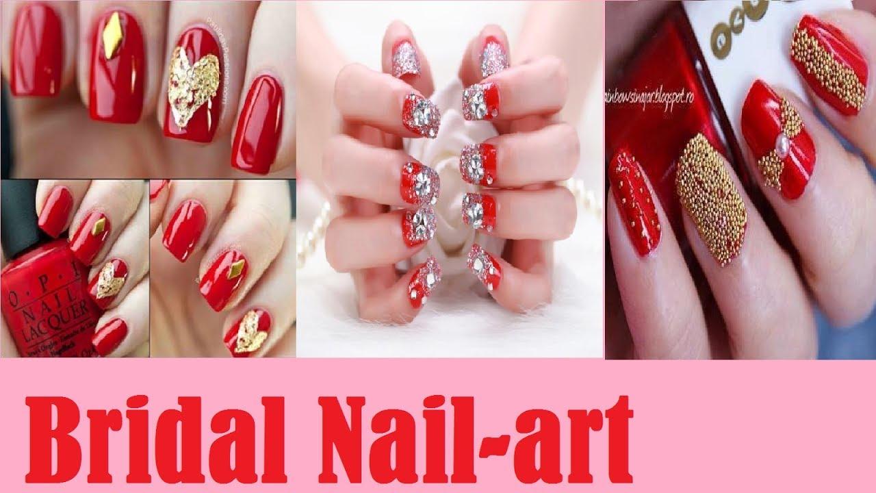 Easy & elegant bridal nail art//Indian bridal nail art ideas //2017 ...