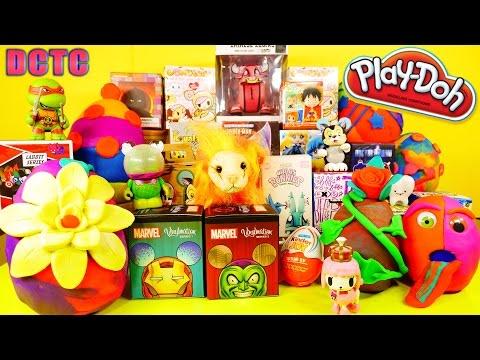 PLAY DOH Surprise Eggs Videos Opening Blind Boxes Kinder Joy TMNT Toys BFFS Marvel Vinylmations DCTC