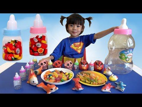 Trò Chơi Cho Các Con Vật Bú Bình Sữa Kẹo – Học Các Con Vật ❤ AnAn ToysReview TV ❤