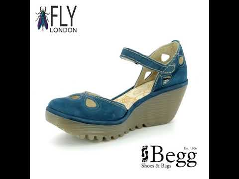 07f0b90921d Fly London Yuna P500016-118 Blue Wedge Shoes - YouTube
