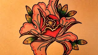 How to Draw a Peony Flower Tattoo Style