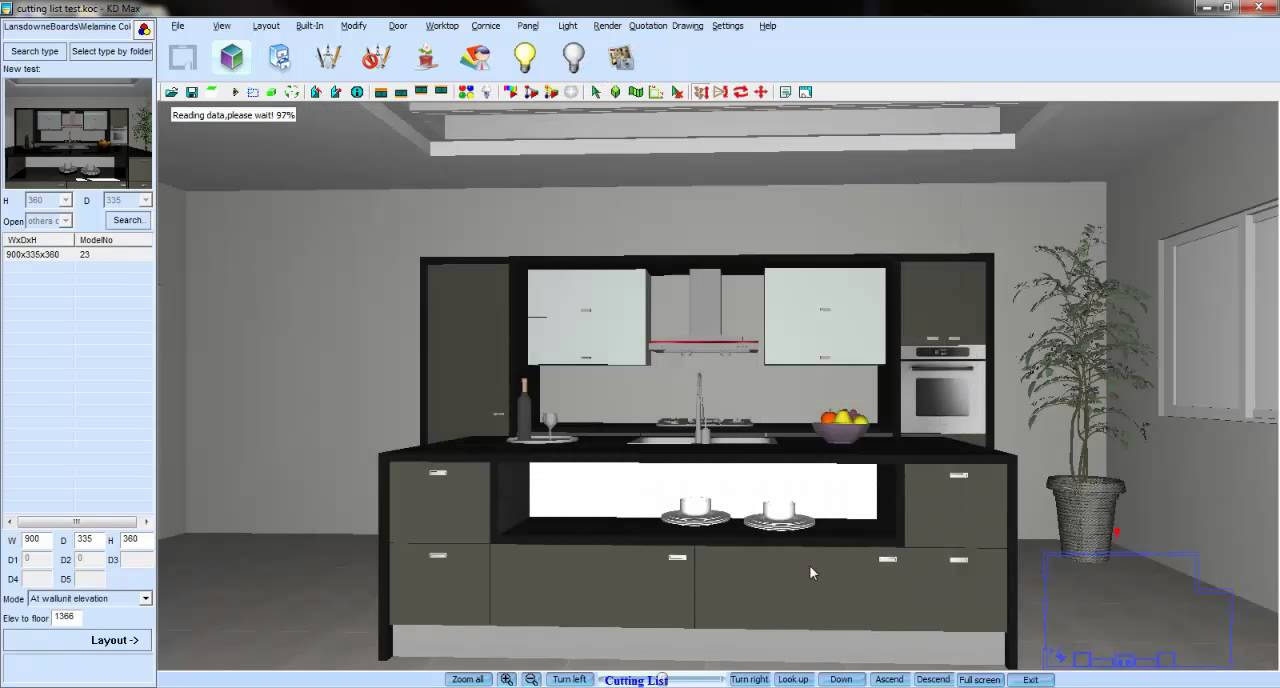 Kd Max 3d Kitchen Design Software Free Download Kd Max Cutting List Youtube