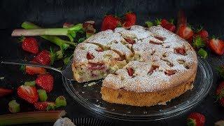Erdbeer-Rhabarber-Joguhrt Kuchen
