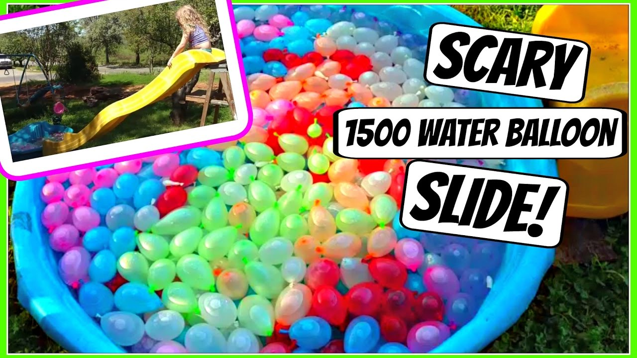 SCARY SLIDE INTO POOL OF WATER BALLOONS DAY YouTube - They gave this tiny dog some water balloons what happens next is hilarious