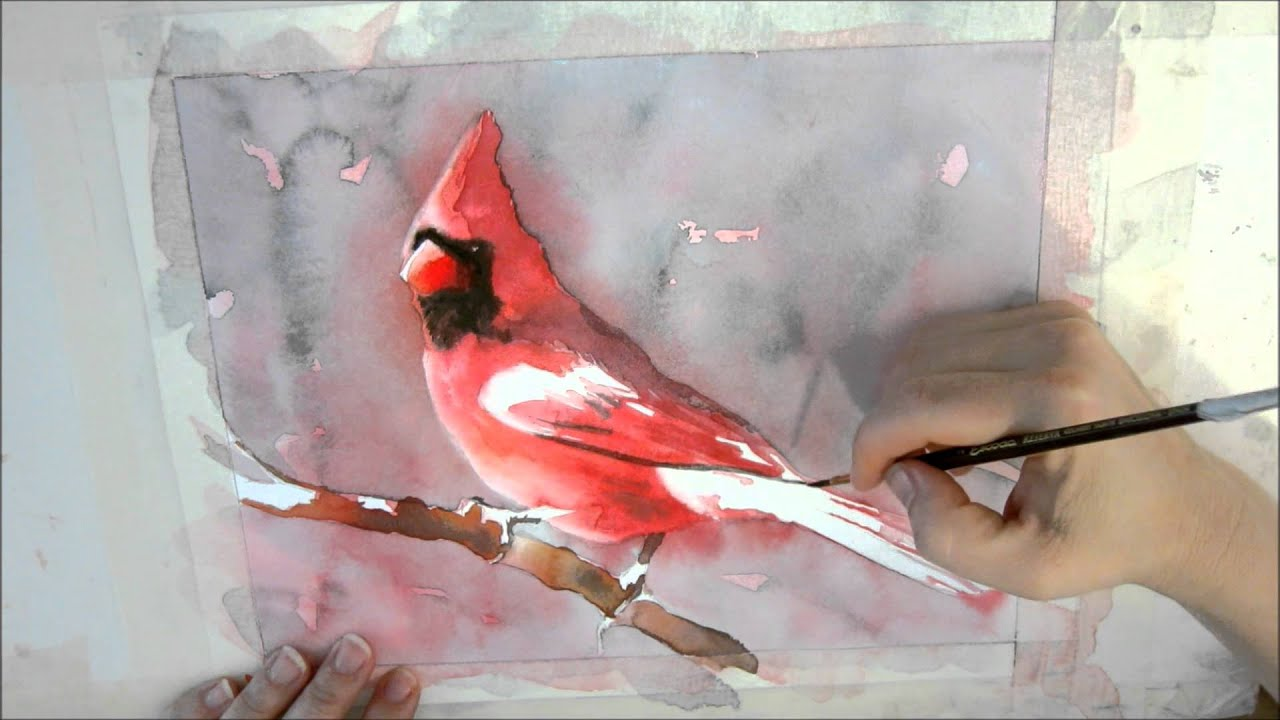 6th installment of cardinal watercolor painting tutorial for Video tutorial on watercolor painting
