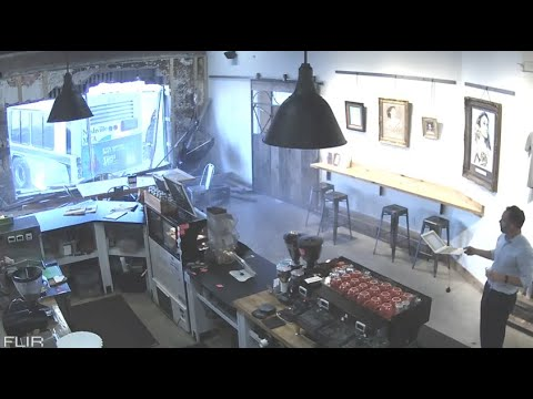 Bus Crashes Into A Coffee Shop