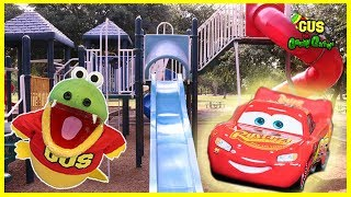 Racing Lightning McQueen Car Toys at the Outdoor Giant Playground Park