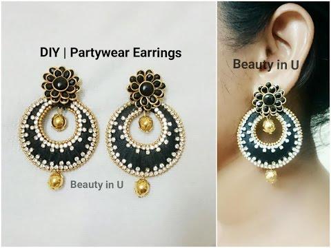 DIY | Partywear Chandbali Silk Thread Earrings | Tutorial