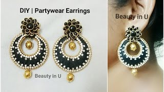 DIY | Partywear Chandbali Silk Thread Earrings | Tutorial
