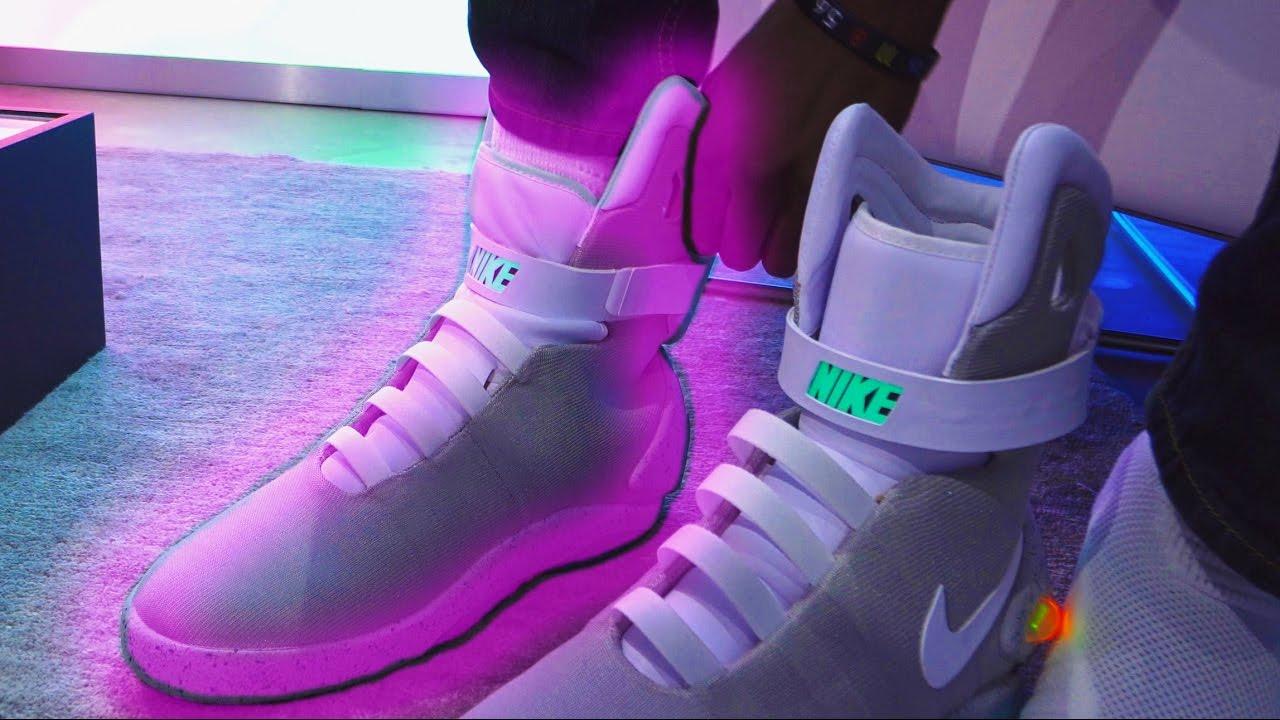 Trying on Nike's Self Lacing Shoe - Nike Mag - YouTube