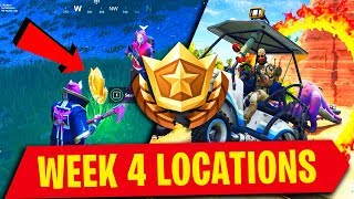 WEEK 4 FORTNITE SEASON 5 EXACT LOCATION WITH PROOF(Battle Star, Secret Star & Flaming Hoop)