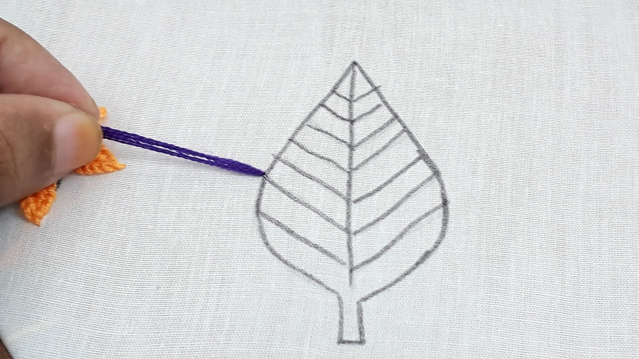 Hand embroidery leaf design step 16 for beginners