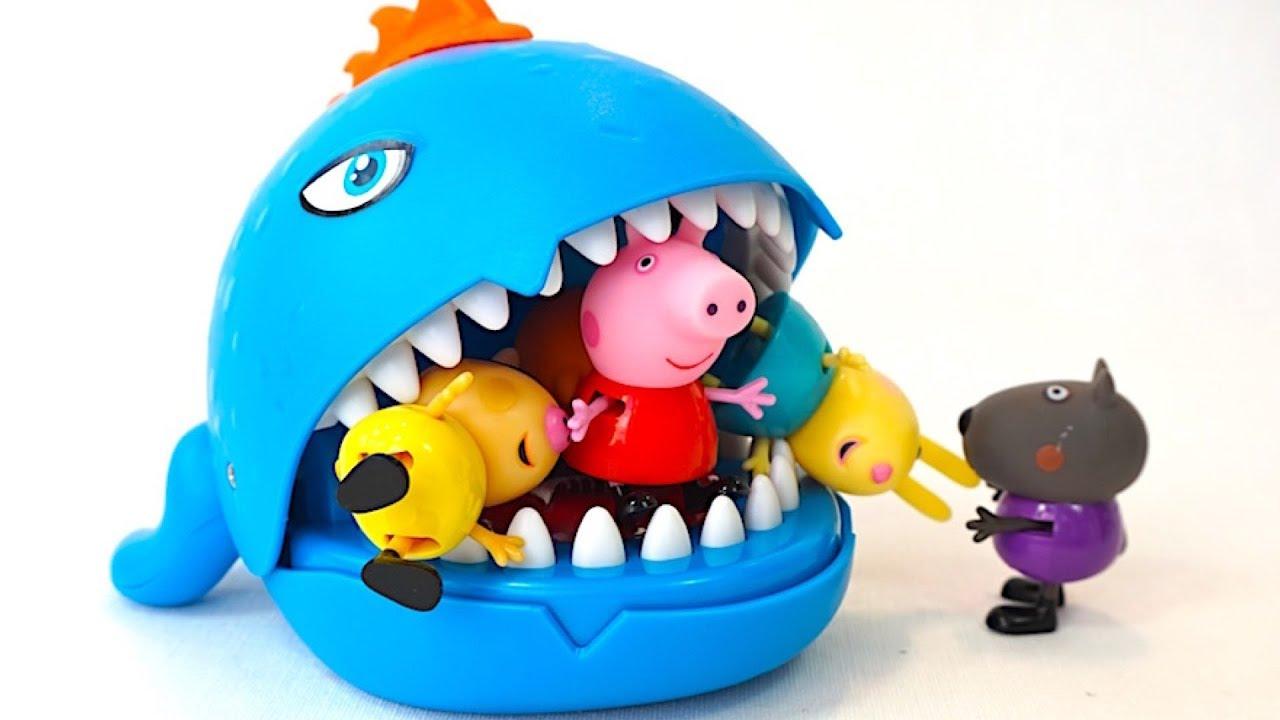 Свинка Пеппа и ее друзья играют с Зубастиком - YouTube