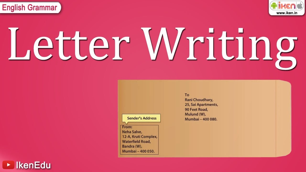 Letter Writing Format Salutation.  Letter Writing YouTube