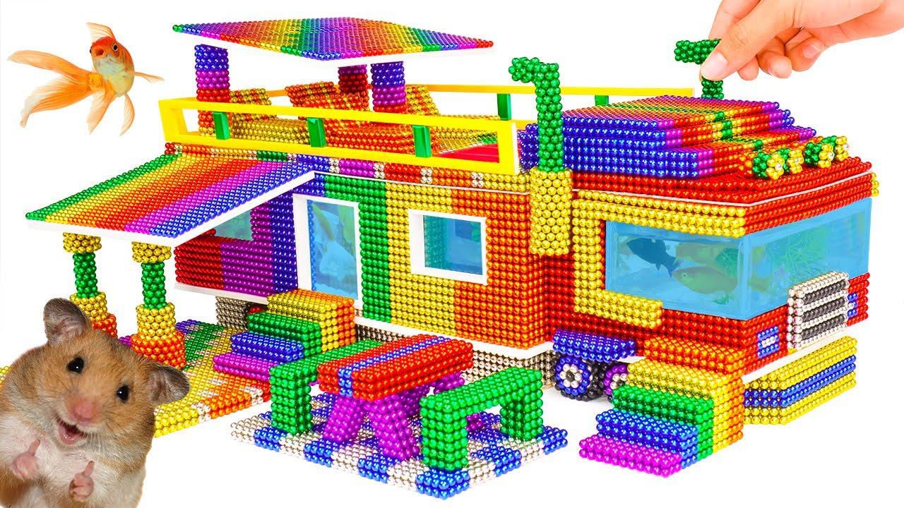 DIY - Build Amazing House Truck Aquarium For Hamster From Magnetic Balls (Satisfying) - Magnet Balls