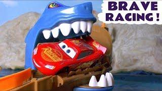 Disney Pixar Cars McQueen Spooky Shark Attack Racing with Hot Wheels Superheroes