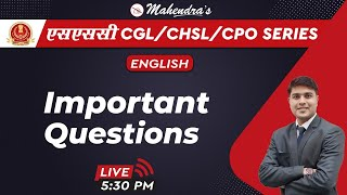 SSC CGL/CHSL/CPO SERIES | English | Important Questions | By Nitin Mahendras | 5:30 pm
